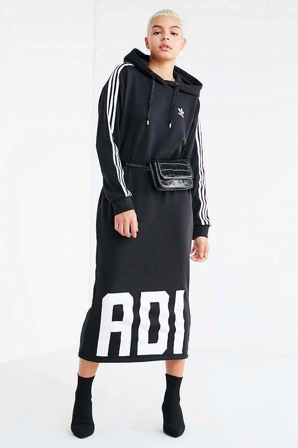 low cost d073c 8e69c Slide View  3  adidas Originals Bold Age Hoodie Sweatshirt Midi Dress