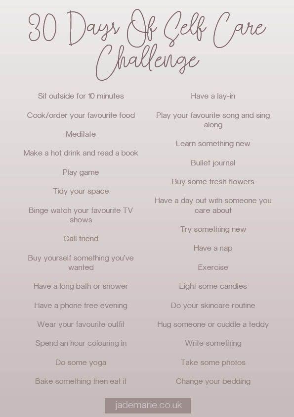 30 Days Of Self Care Challenge