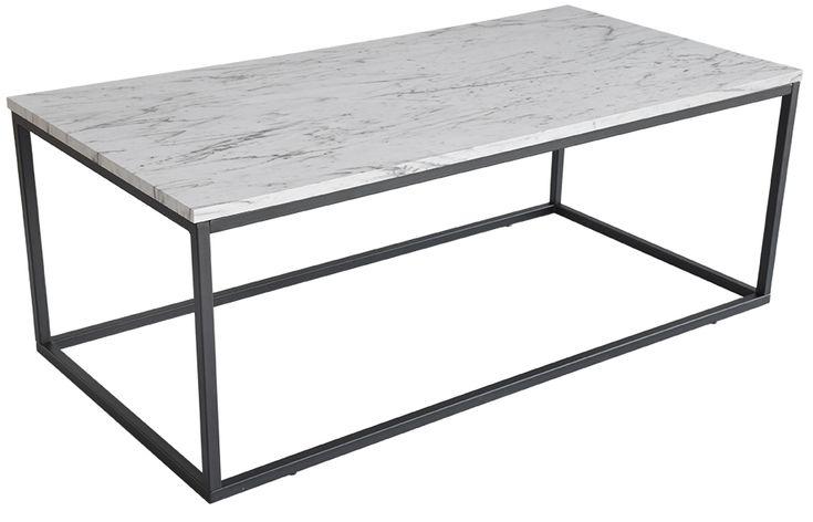 Köp - 1290kr! Beside soffbord - Grå marmorimitation / svart. Beside soffbord med toppskiva i grå marmor folie med svartlackat