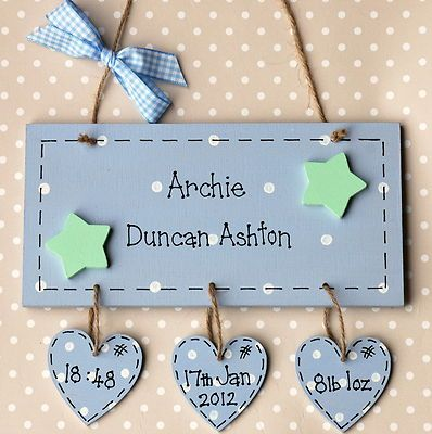 Personalised Wooden Newborn Baby Boy Girl Plaque Gift