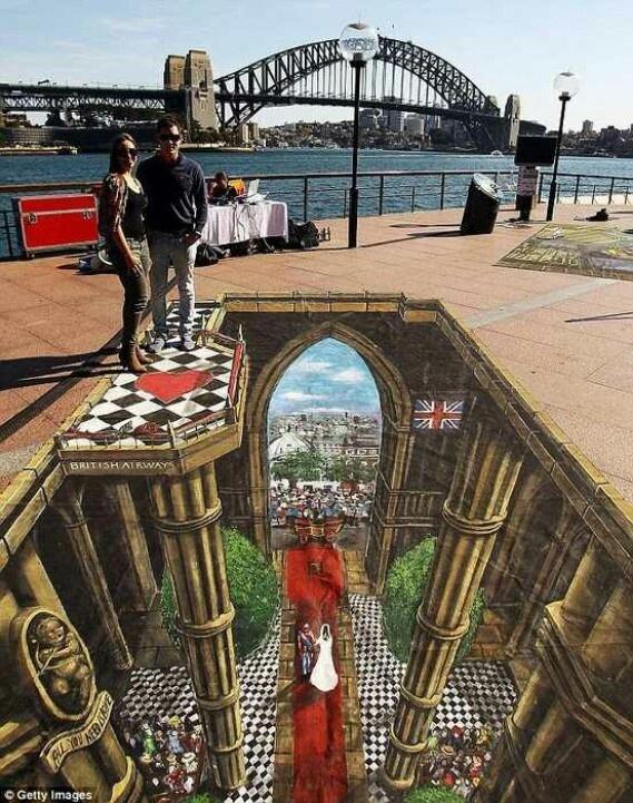 3D Street Art or called optical illusion art.