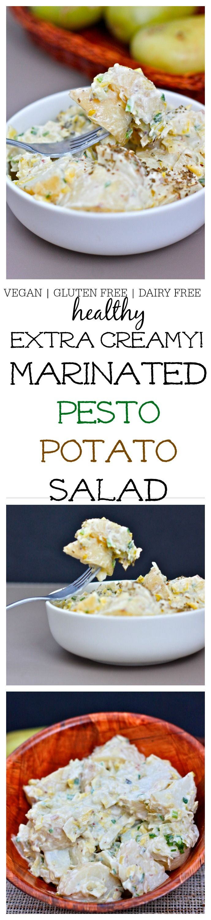 Healthy Marinated Pesto Potato Salad which is Perfect for grilling, picnics or the Summer sides, it's vegan, gluten free and dairy free! @thebigmansworld - thebigmansworld.com