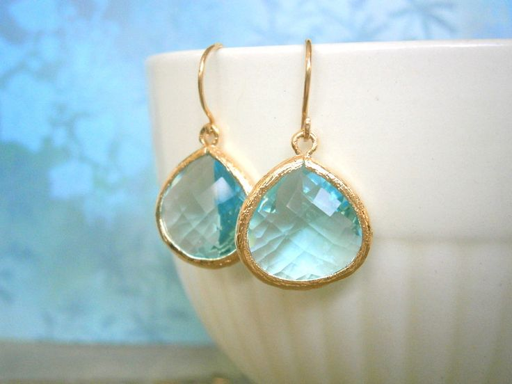 Aquamarine Earrings Gold Earrings Blue Earrings