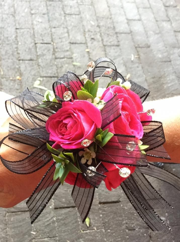 Hot Pink Amp Black Wrist Corsage In Pleasanton Ca