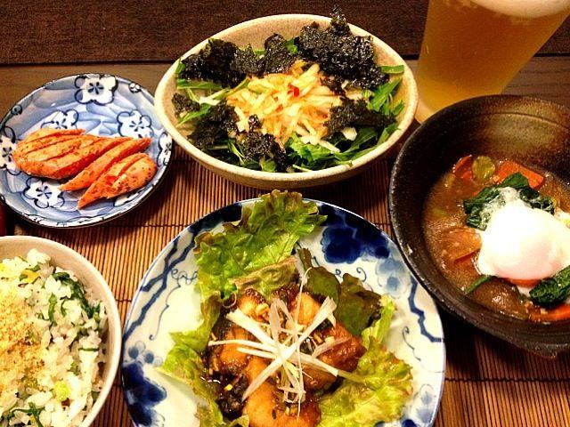 これから、しばらく野菜がメインの食卓になります。野菜がどっさり届いたので - 110件のもぐもぐ - 油淋鶏鰤バージョン、冬野菜の醤油麹スープ温玉のせ、水菜と大根の韓国海苔サラダ、塩麹漬け菜飯 by masako522