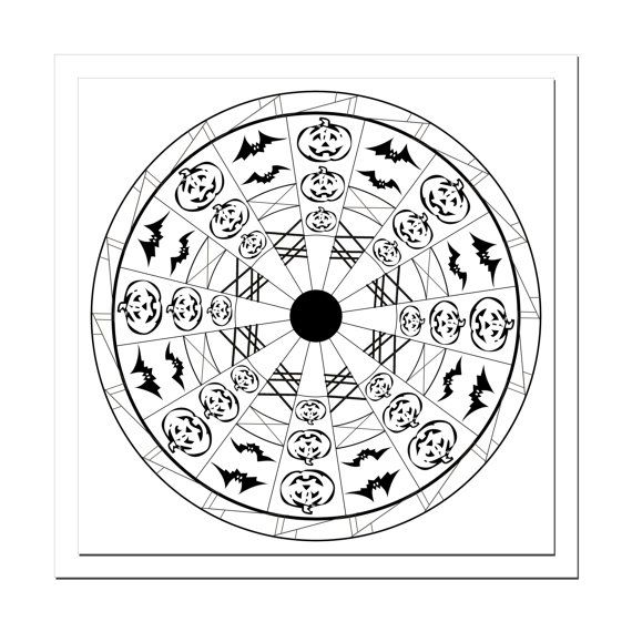 Halloween Mandala Designs Coloring Page - Prints up to 12x12 - PSD File included!