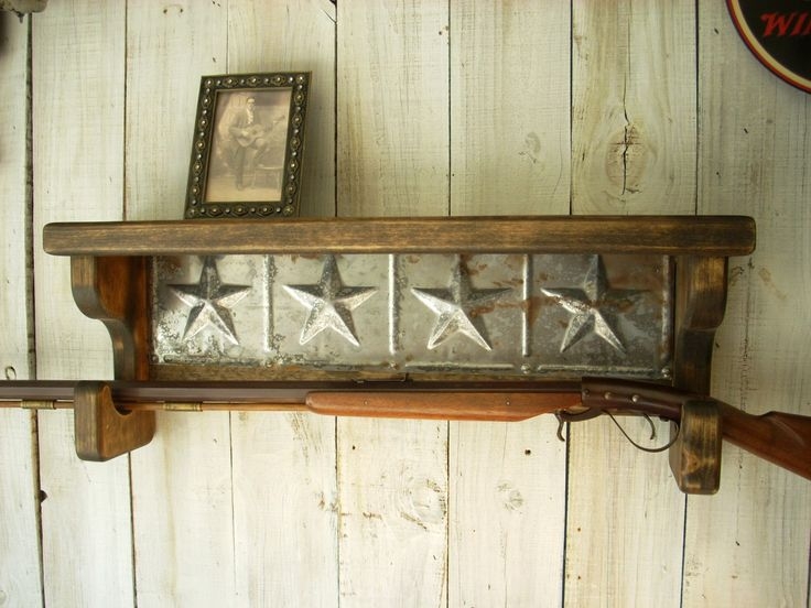 Gun Rack Wall Shelf Western Furniture by Nottooshabbyshelves, $85.00