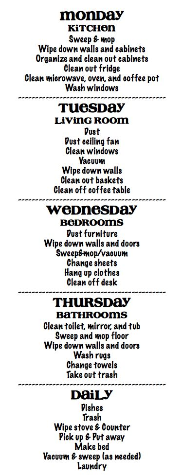 cleaning schedule-this is so easy/perfect