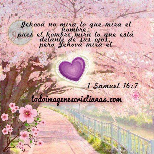 """Preciosa imagen con un mensaje del Salmo Samuel 16:7 que habla sobre como Jesús mira el corazón de cada quien, sin mirar otra cosa más que eso… es un bellísimo mensaje que quedará dando vueltas en tu cabeza y que calará hondo dentro de ti y los que te rodean. """"Jehová no mira lo que …"""