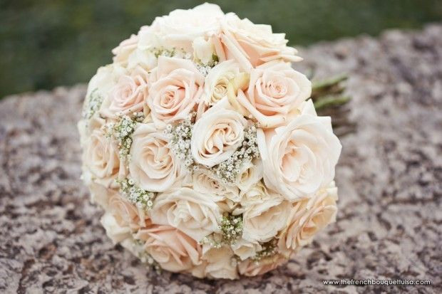 Kevin Paul Photography Shot of Gorgeous Sahara Rose and Baby's Breath Bridal Bouquet - The French Bouquet
