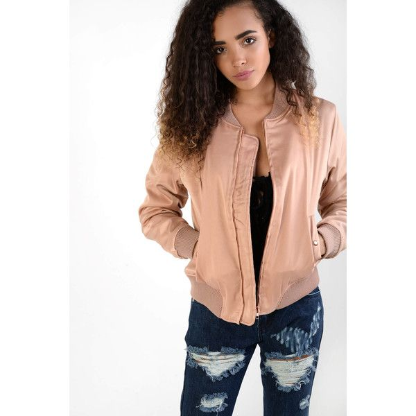 Glamorous Dusty Pink Satin Bomber Jacket ($39) ❤ liked on Polyvore featuring outerwear, jackets, pink, pink satin jacket, flight jackets, satin bomber jacket, flight bomber jacket and bomber style jacket
