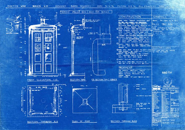 Tardis Print Poster Dr Who Blueprint The Tardis от BigBlueCanoe