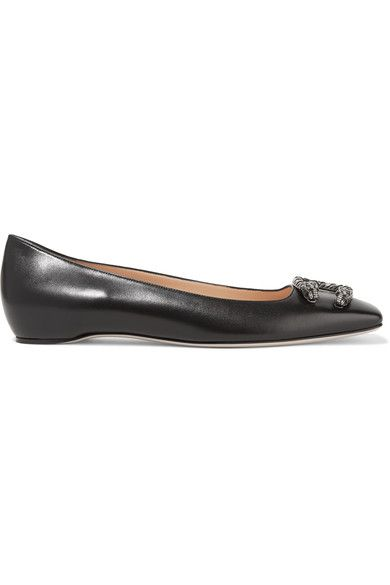Gucci - Dionysus Leather Ballet Flats - Black - IT