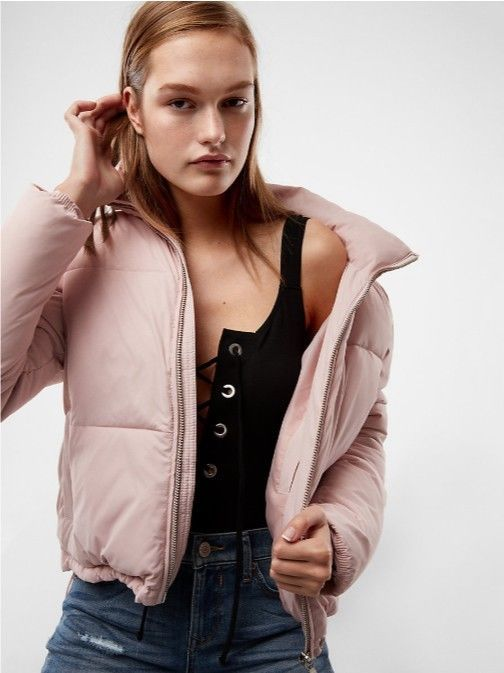 84af873d249 Express Women s Zip Front Crop Short Puffer Coat Pink Size S New with Tag   fashion  clothing  shoes  accessories  womensclothing  coatsjacketsvests  (ebay ...
