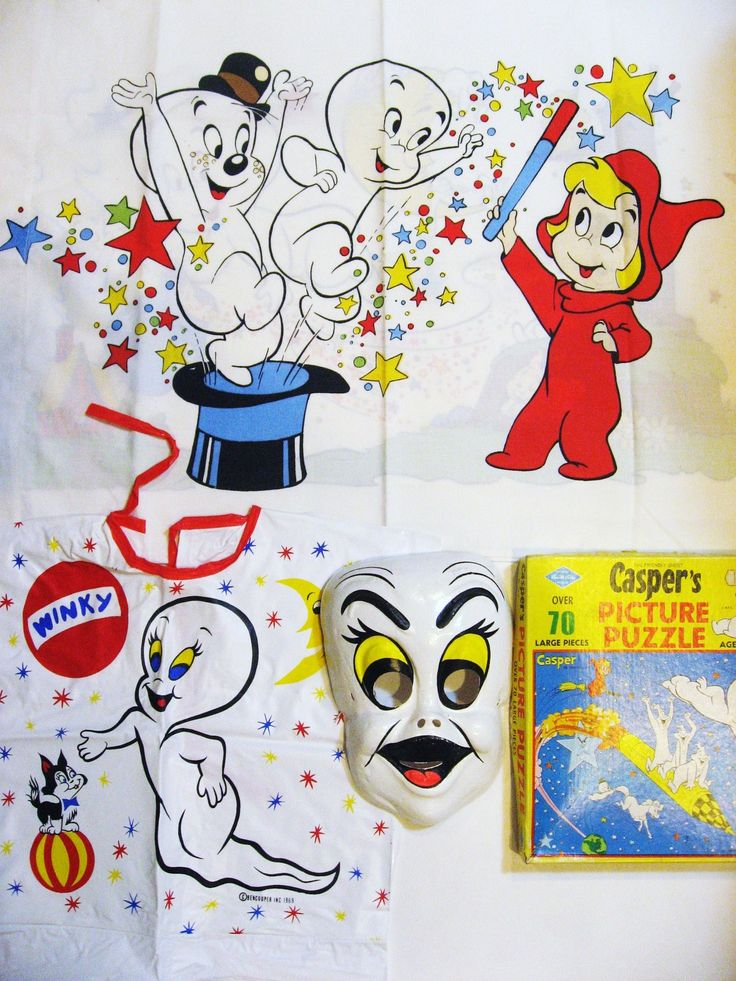 3 Vintage Casper Ghost Halloween Items, Ben Cooper Costume, Pillow Case, Puzzle