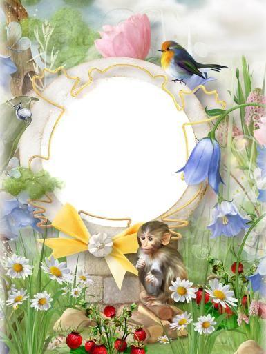 Красочные рамки. Рамка, фотоэффект: Волшебный мир. Весна, лето, природа, обезьяна, мартышка, птица, ромашки, колокольчики, цветы, трава, листья, бант, лента
