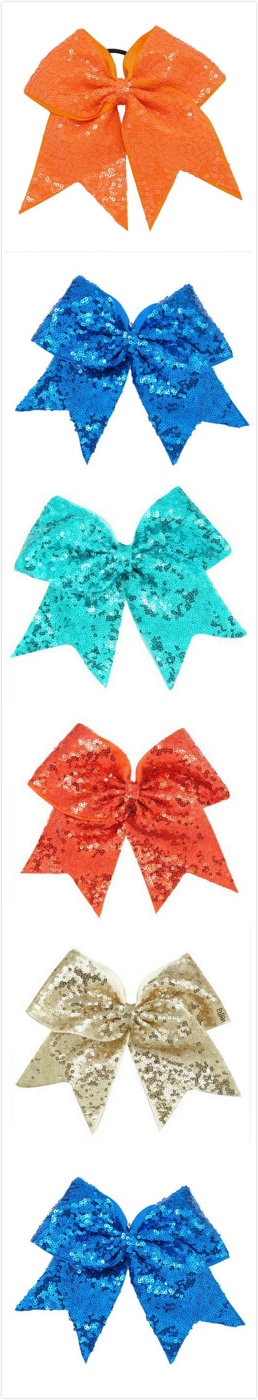 Only $1.6 cheer bow storage for girl.8 inch big cheer bow with elastic.sparkly cheer bow,cheer bow cheerleading, cheer bow competition.