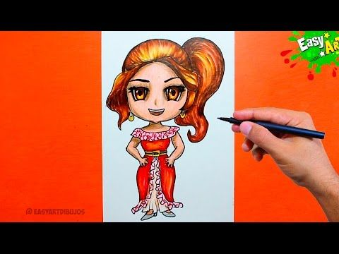 Elena of Avalor - How to draw the princess Elena de Avalor - Como Dibujar a Elena de Avalor kawaii   YouTube