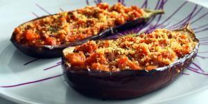 Receta de Berenjenas rellenas vegetarianas al microondas - ¡Para ahorrar tiempo!