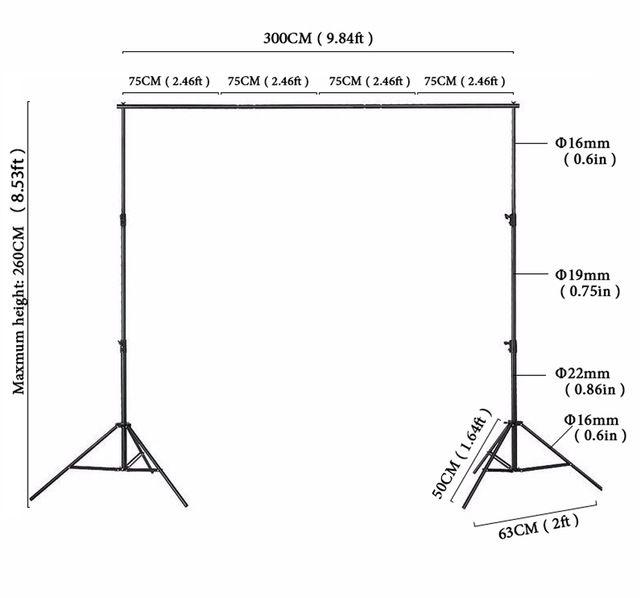 8x10ft photo fond stand support de Bonne qualité système stand 260x300 cm toile de fond Stand pour photo studio accessoires spport