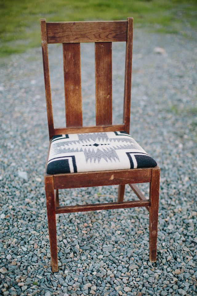 vintage oak chair with pendelton blanket