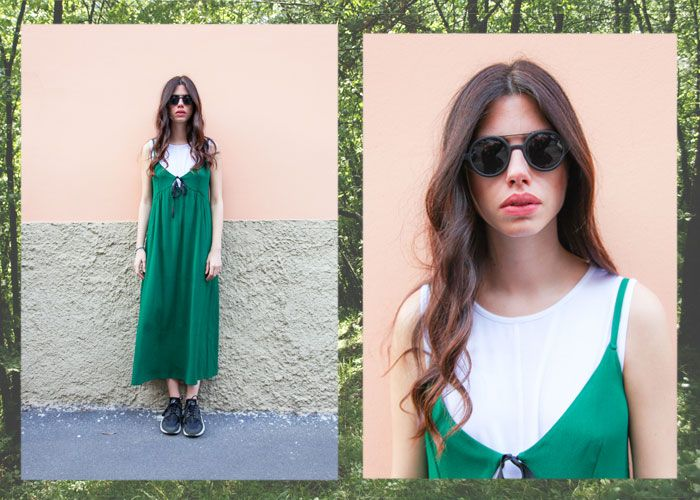 Green dress Rue Bisquit! Occhiali Komono