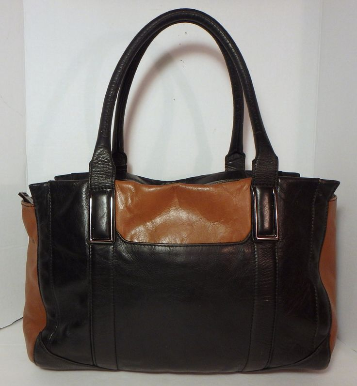 AUTOGRAPH Marks & Spencer UK Black & Tan Leather XL Tote Handbag Purse
