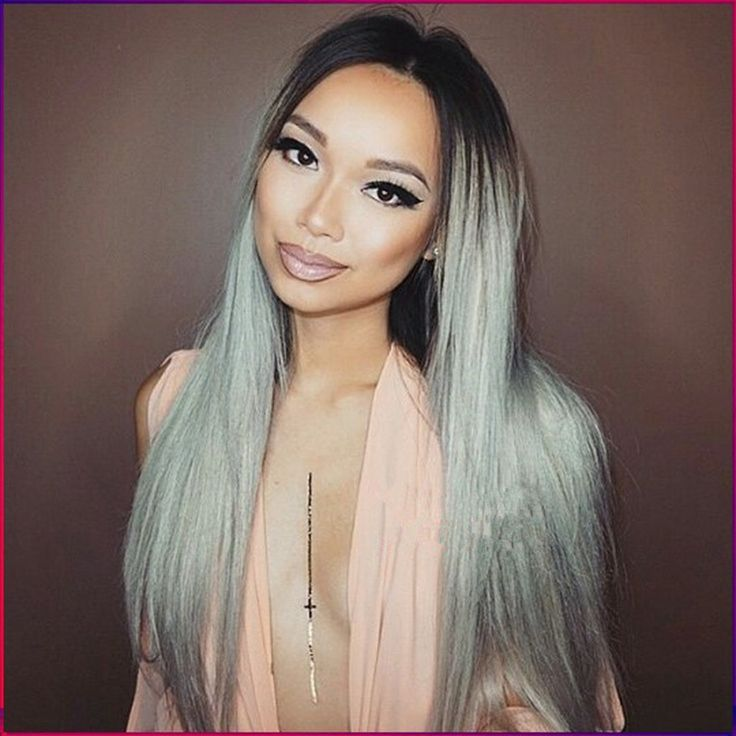 Female Wig Synthetic Ombre Grey Wigs For Black Women Fashion Grey Wig Long Straight Synthetic Grey Wigs For Women Sale