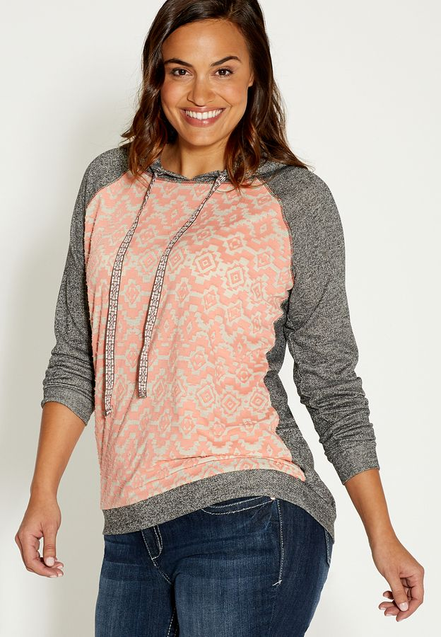 Plus size sweatshirt with ethnic print