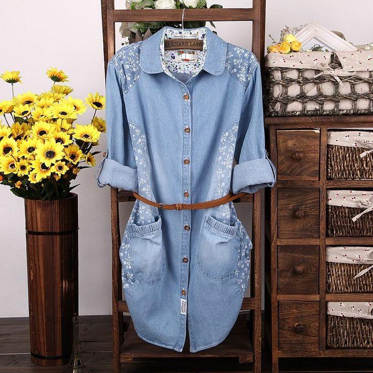 Çiçek Yamalı Kot Gömlek
