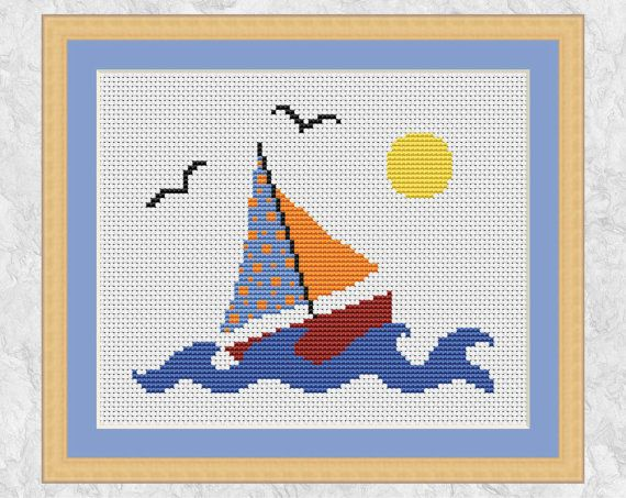 Boat cross stitch pattern, sailing counted cross stitch, sailboat, yacht, sea, lake, sun spring summer, easy, simple, printable chart, PDF by Climbing Goat Designs
