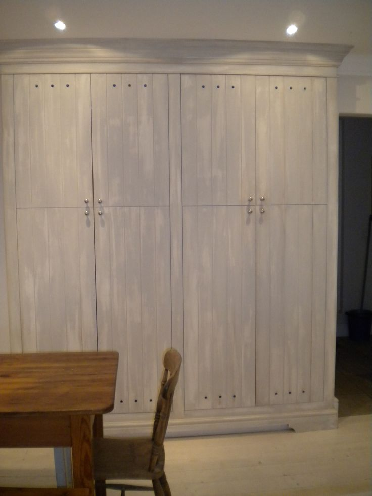 Pantry cupboard, hand painted supawood (MDF) units with a aged finish.