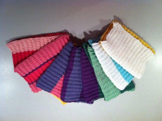 Håndarbeiden   » Strikk fargerike vaskekluter