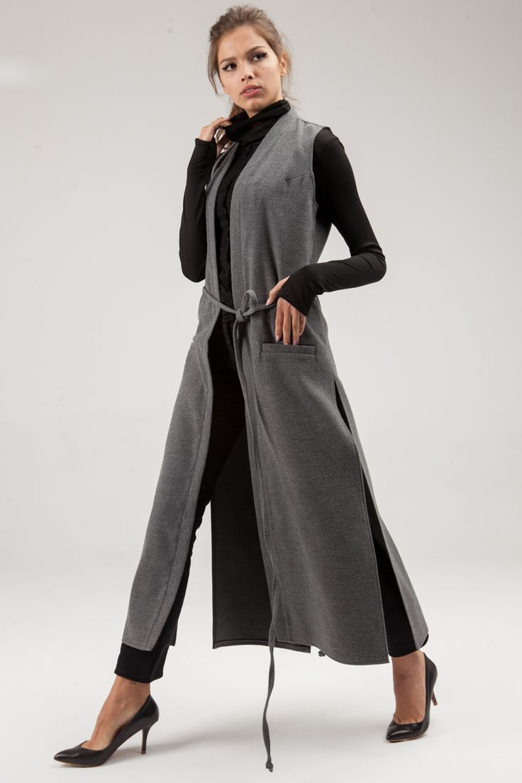 Long waistcoat made of gray coating fabric. Two pockets on the front. Side and back sections. Long ties on the waist.  #mariashi #fashion #newcollection #nofilter #outfit #outfitoftheday #outfits #outfitpost #clothes #fashionista #fashiondesigner #shopping