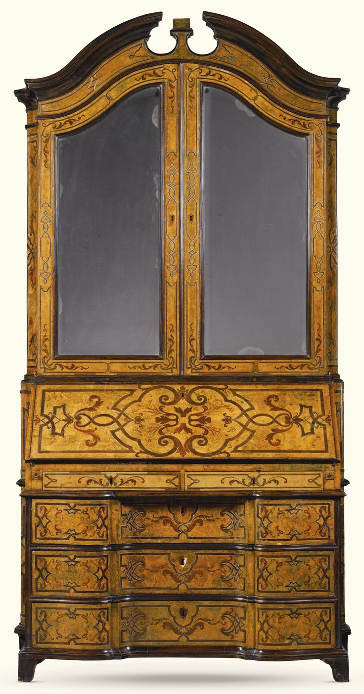 An Italian Silver And Amaranth Inlaid Walnut, Rosewood And Marquetry Bureau  Cabinet, Genoese,