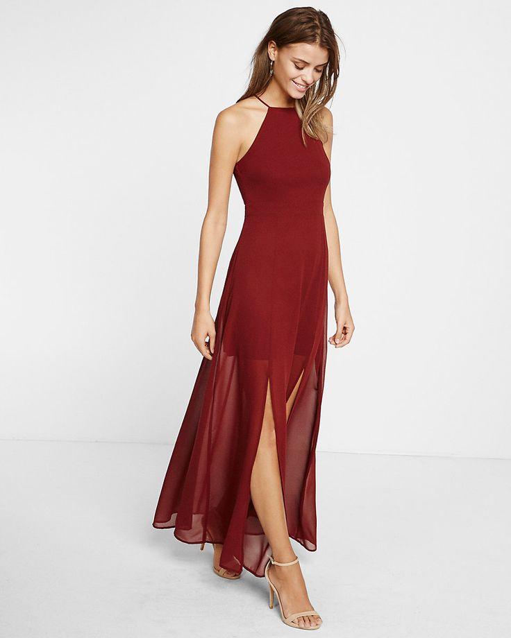 chiffon halter maxi dress