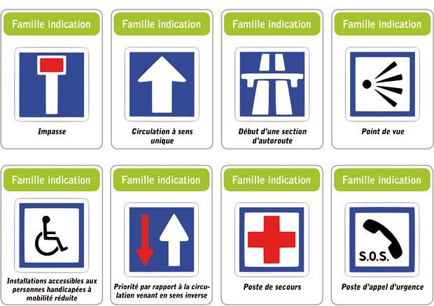Jeu des 5 familles de panneaux de signalisation routière : famille indication