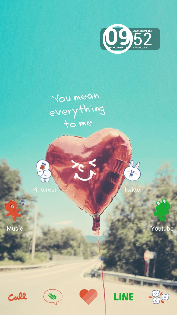[Line deco] Heart balloon~ Lovely balloon wallpaper decorated with cute LINE friends! ★ In this screen ★ Deco Pack:LINE drawing Wallpaper:You mean everything to me