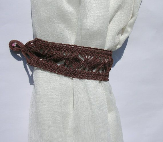 Curtain tie backs Crochet curtain tiebacks Brown curtain tie backs Window décor Drapes Curtain Holdbacks Drapery Tieback  Curtain Holders