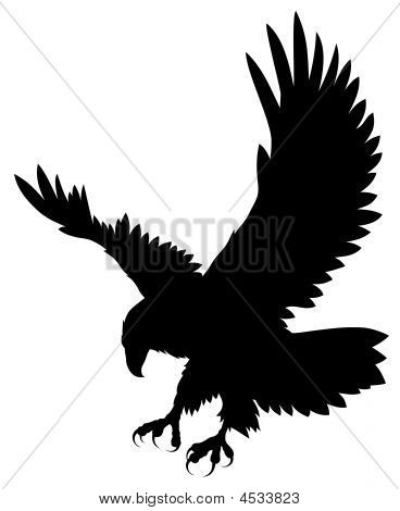 Picture or Photo of Abstract vector illustration of flying eagle silhouette