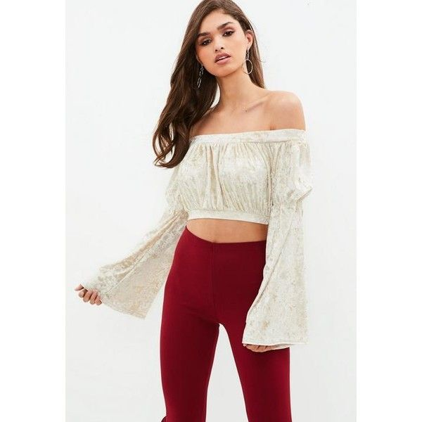Missguided Cream Velvet Bardot Flared Sleeve Crop Top ($16) ❤ liked on Polyvore featuring tops, gold, cream crop top, velvet top, bell sleeve tops, white flared sleeve top and velvet crop top