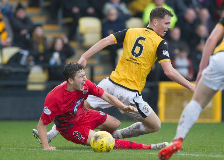 Queen's Park's Dario Zanatta takes a sore one during the Ladbrokes League One game between East Fife and Queen's Park.