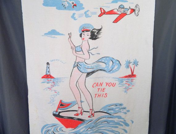 "Midcentury Vintage Can You Tie This Pin Up Beach Towel 58"" x 34"" on Etsy, $35.00"