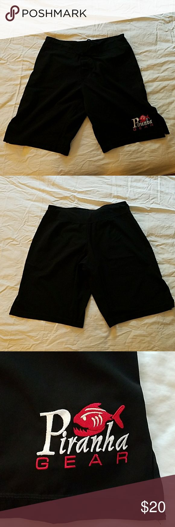 Mens Piranha Gear MMA Shorts Mens Piranha Gear MMA shorts, size large (fits between 33-36 waist). Worn once, in excellent condition. Make an offer. No PayPal, no trades please. Thanks for looking! Piranha Gear MMA Shorts Athletic