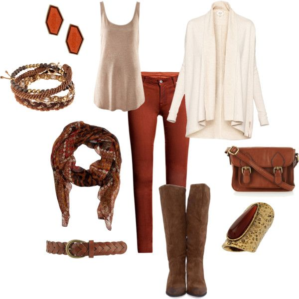 A complete outfit of cream, brown, and burnt orange.