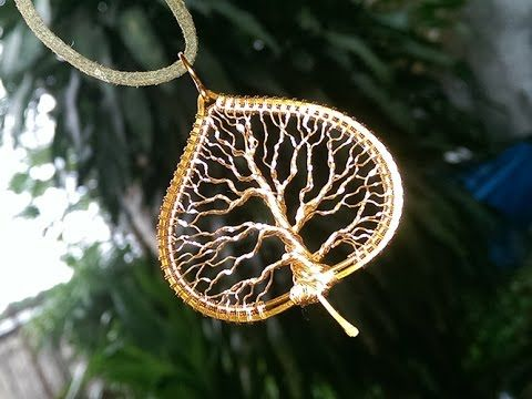 """Tree of life in the leaf"" pendant - How to make wire jewelery 245"