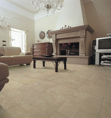 Tile floors in a family room
