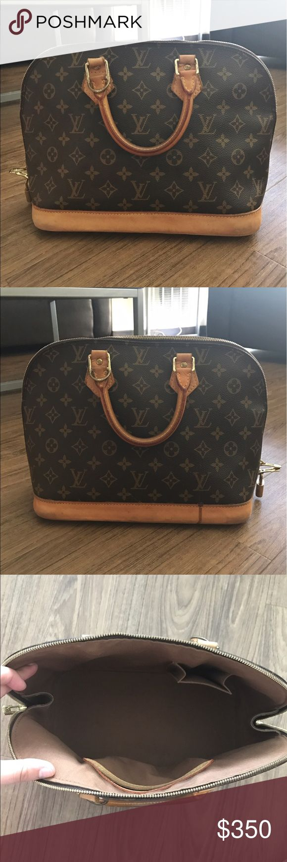AUTHENTIC Louis Vuitton Alma Bag Great condition classic Alma bag! Inside has no stains. Outside has small water stains on bottom sides and some around the edges. (See pictures) No cracks or wear and tear on the monogram vachetta or handles. All stitching is intact and zippers still work perfectly! Slight tarnish on zippers but padlock will be included. Louis Vuitton Bags Totes
