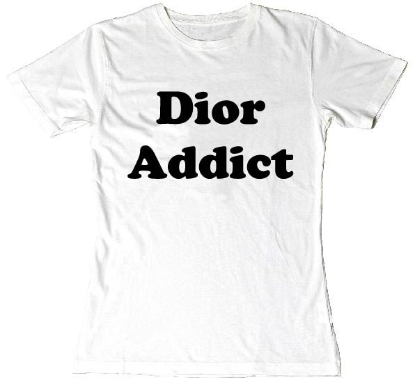 """Dior Addict"" Ladies Fit Printed Slogan Fashion T-Shirt WHITE BLACK PRINT. Our most popular #slogantee is back now in colour and fitting variations. #slogan #tees #addict #unisex #fun #tee #fashion"