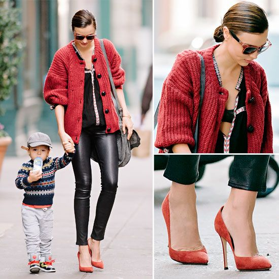 Miranda Kerr Does the Impossible — Makes Leather Leggings Look Cosy